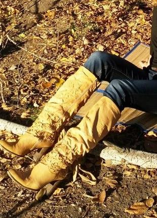 Тренд высокие кожаные сапоги трубы гармошка на устойчивом каблуке столбик