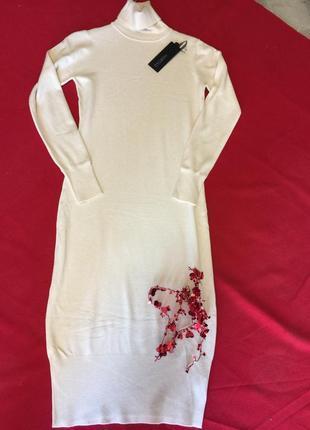 Кашемировое базовое теплое платье-гольф,италия