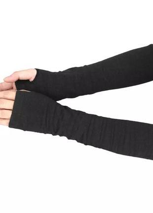Черные перчатки без пальцев митенки рукава