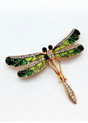 Стильная яркая брошь стрекоза брошка зеленый насекомое