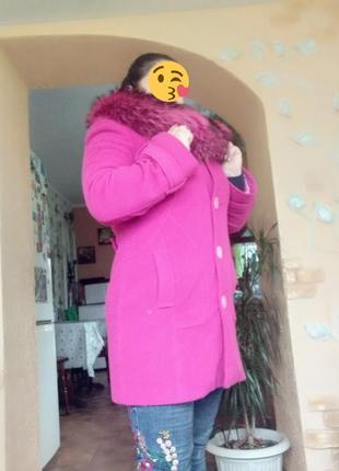 Зимове пальто кашемір і справжнє хутро
