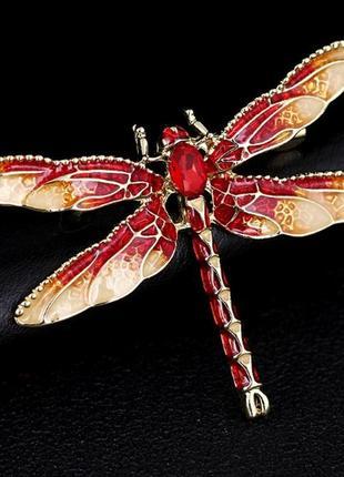 Очень красивая стильная брошь стрекоза брошка