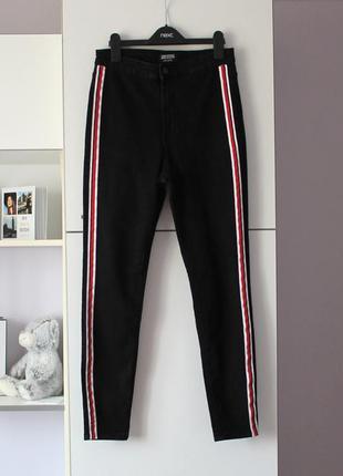 Черные скинни джинсы с лампасами и высокой талией от zara