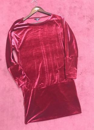 Бархатное платье цвета бургунди свободного кроя цвета бордо размер - м