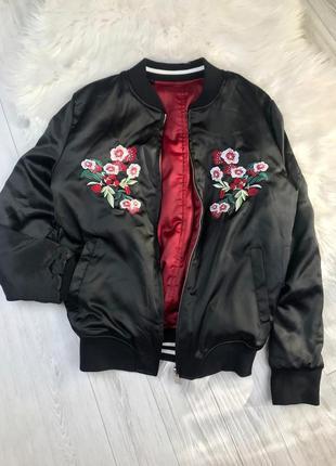 Двостороння куртка, бомбер з вишивкой, атласний від atmosphere