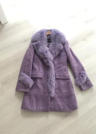 Пальто пальтишко с натуральным мехом куртка парка утеплённое пальтопуховик