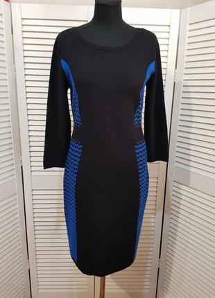 Стильное сине черное теплое платье  nine west