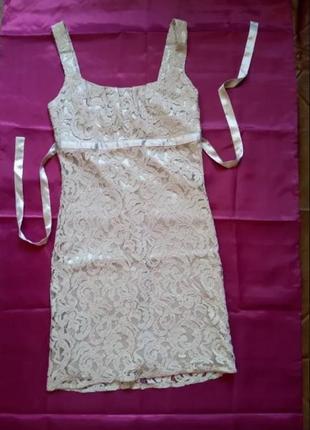 Кружевной сарафан мини платье сукня м нарядный нежный
