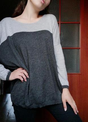Джемпер комбинация пуловер кофта оверсайз carlaf свитер хлопок шерсть