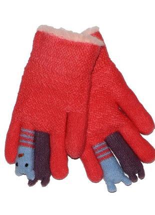 Перчатки коралловые на меховой подложке для девочки, aura-via, gk5175