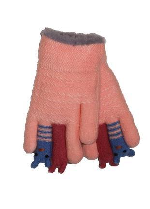 Перчатки персиковые на меховой подложке для девочки, aura-via, gk5175