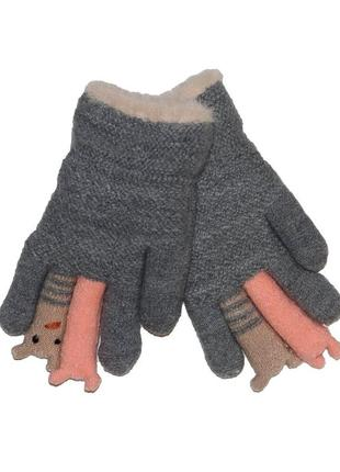 Перчатки серые на меховой подложке для девочки, aura-via, gk5175
