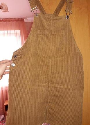 Вельветовый, коричневый комбинезон