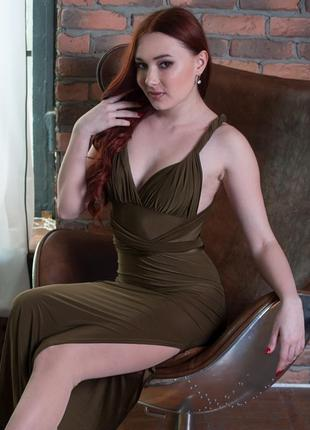 Эксклюзивное платье-трансформер хаки длинное с разрезом boohoo