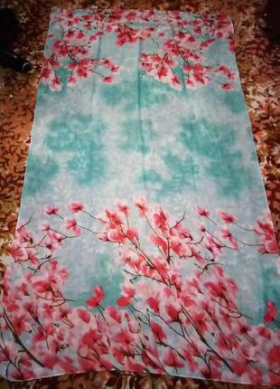 Красивенная большая летняя накидка шарф парео цветочный принт сакура в подарок перстень