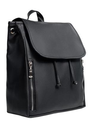 Вместительный женский черный рюкзак из кожзама