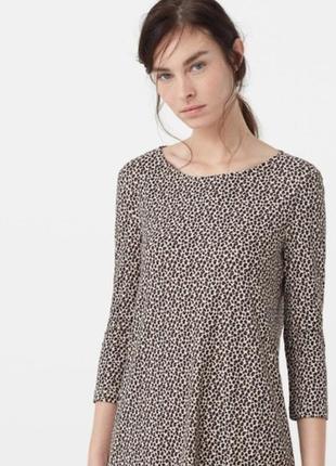 Расклешенное платье в леопардовый принт от mango