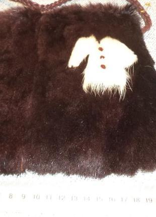 Маленькая сумочка из кролика,отличный подарок моднице