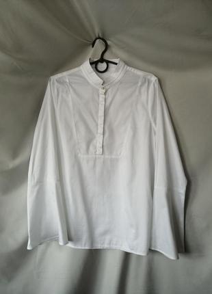 Белая рубашка блуза блузка с расклешенными рукавами воротник стойка