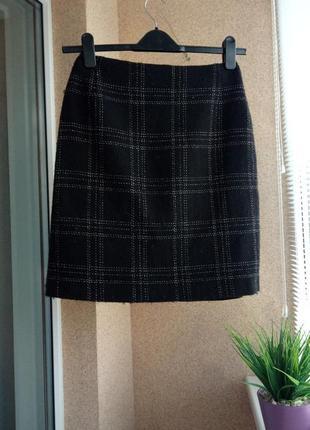 Теплая /утепленная юбка - карандаш прямого силуэта с содержаниеи шерсти