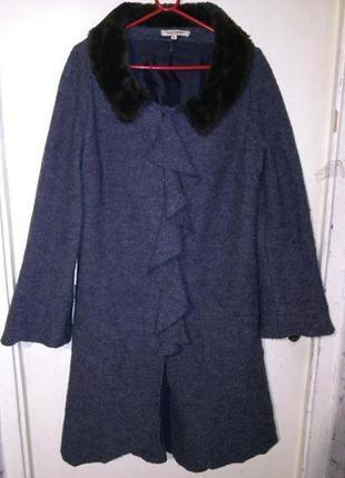 Тёплое-80% валяная шерсть,асимметр.серое пальто с воланом и карманами,xl,betty boom