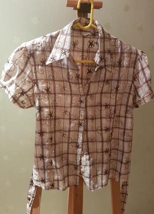 Летняя рубашка с коротким рукавом, клетка, размер м