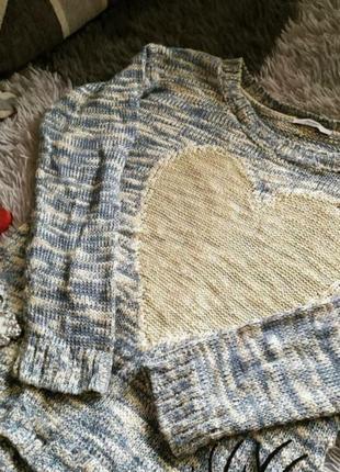 Кофта светр свитер сердечко в'язаний светрик