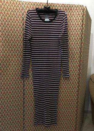 Платье миди хлопок трикотажное осеннее полоска полосатое батал1 фото