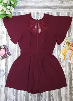 Супер нарядный  комбинезон- ромпер с шортами цвет бордо asos 8 размер