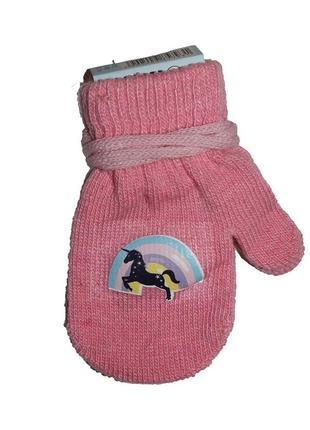 Акриловые перчатки с аппликацией розовые с единорогом, 12см, yo, r-122a