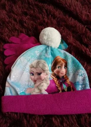 Комплект дисней фроузен шапка и перчатки