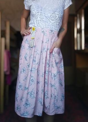 Шикарная юбка миди в цветочек