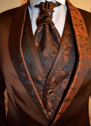 Продам шикарний атласний чоловічій костюм(смокінг) elpa