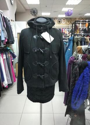 Пальто, женское, короткое, демисезонное, с капюшоном, размер m