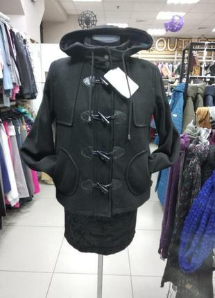 Пальто, полупальто, короткое, женское, демисезонное, с капюшоном,, m