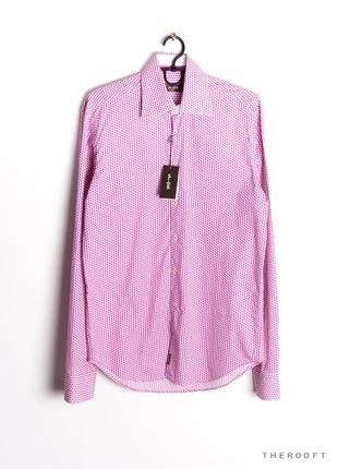 Рубашка мужская в узор сиреневая фиолетовая van gils