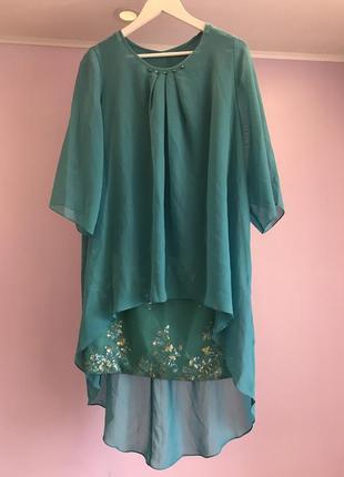 Нарядный новый набор вечернее платье накидка 48 размер