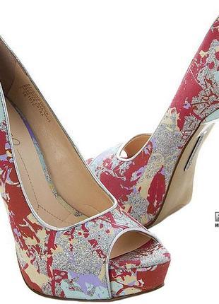 Туфли, с открытым носком, серебро, nine west, 37 р.