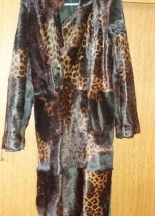Двусторонняя натуральная  дубленка с капюшоном длинное зимнее пальто
