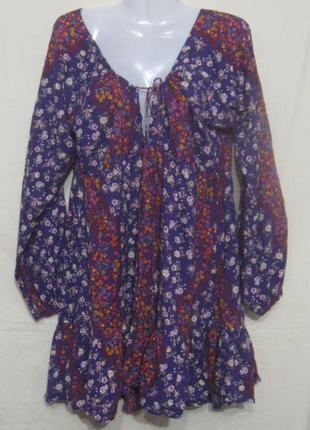 Платье цветное летнее с длинным рукавом, мини.44р-р. бюджетно