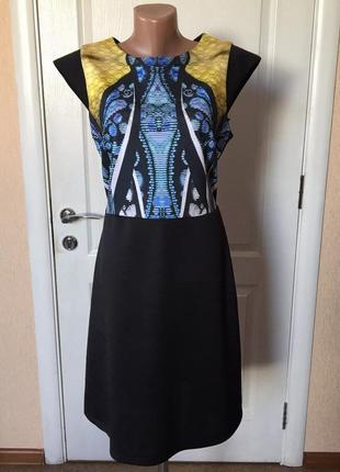 Платье женское летнее черное с принтом короткое повседневное xtsy