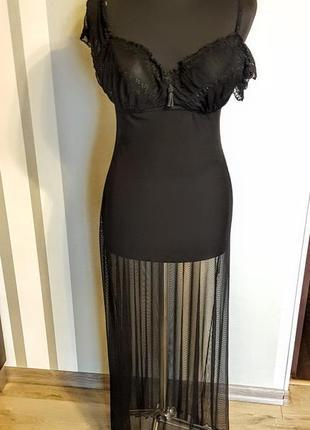 Шикарное чёрное бельё комбинация ночная рубашка пеньюар домашнее платье