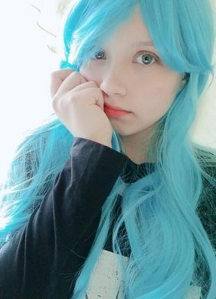 Супер цена парик  качество голубой длинный новый хеллоуин