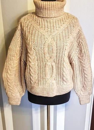 Моднейший свитер свитшот оверсайз укороченн бежевый с косами и горлом 15% шерсти