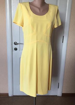 Платье женское летнее короткий рукав желтое офисное деловое lussilo