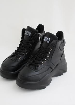 Женские черные зимние ботинки (сапоги, крипперы, кроссовки) на толстой подошве