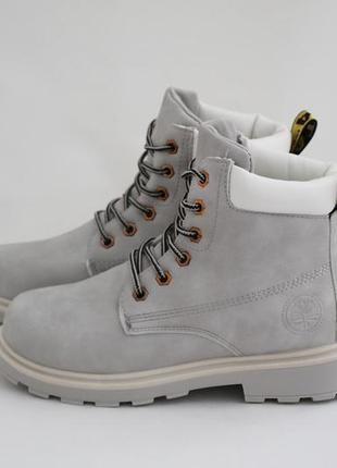 Женские зимние серые ботинки (сапоги, полусапоги) на шнуровках2 фото
