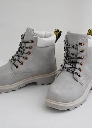 Женские зимние серые ботинки (сапоги, полусапоги) на шнуровках3 фото