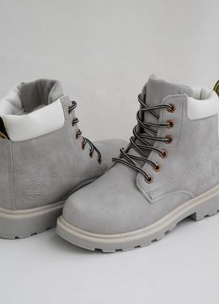 Женские зимние серые ботинки (сапоги, полусапоги) на шнуровках5 фото