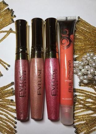 Eveline cosmetics набор лот 4 блеска для губ – новые